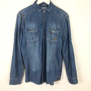 Tailored Recreation Denim Shirt Fold Sleeves